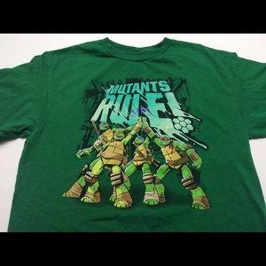 TNMT Ninja turtles boys shirt large green tee